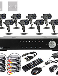 8CH D1 Realtime H.264 600TVL High Definition CCTV DVR Kit (8 Waterdicht Dag Nacht CMOS-camera's)