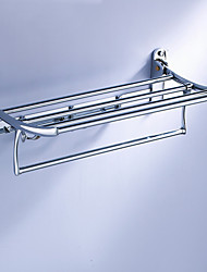 "Towel Bar Chrome Wall Mounted 600 x 250 x 140mm (23.6 x 9.8 x 5.5"") Zinc Alloy Contemporary"