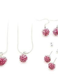 conjunto de jóias (rosa dois colares e dois pares de brincos)