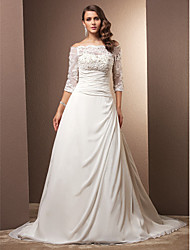 Lan Ting A-line/Princess Plus Sizes Wedding Dress - Ivory Court Train Off-the-shoulder Chiffon