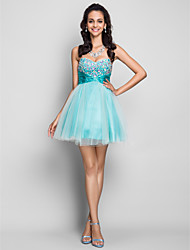 A-line/Princess Sweetheart Short/Mini Tulle And Satin Cocktail/Prom Dress