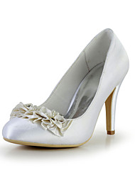 Elegant Satin Stiletto Heel Pumps with Rhinestone and Imitation Pearl Wedding Shoes(More Colors)