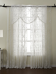 One Panel Graceful Embroidery Sheer With Valance Curtain Set