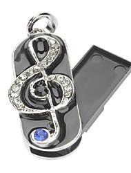 2GB Metallo Music Notes USB Flash Drive