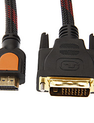 1.5M 5FT 1080P HDMI Male to DVI 24+1 Male High Speed Standard  HDMI Cable