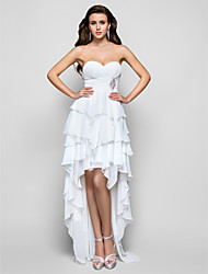 Prom / Formal Evening Dress - Open Back A-line / Princess Strapless / Sweetheart Asymmetrical Chiffon withBeading / Draping / Tiers /