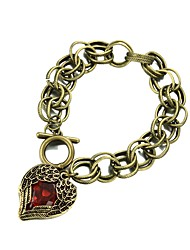 Vintage Angel Wing with a Red Heart Link Bracelet
