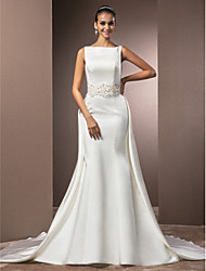 Mermaid / Trumpet Bateau Neck Cathedral Train Satin Wedding Dress with Beading by LAN TING BRIDE®