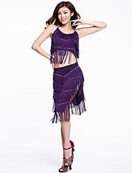 Chinlon Dancewear com borlas latino Outfits dança para senhoras (mais cores)
