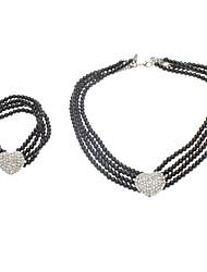 Classic Heart Imitation Pearl Necklace + Bracelet set