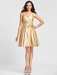 Lanting Knee-length Satin Bridesmaid Dress - Gold Plus Sizes / Petite A-line / Princess V-neck
