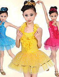Latin Dance Dresses Children's Spandex / Tulle Ruffles / Sequins Blue / Red / Yellow Latin Dance / Performance Spring / Summer Natural