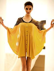Lewen Yellow Dolman Sleeve Lace Shirt