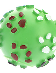 Paw Print Pattern Rubber Squeak Ball Toy for Dogs