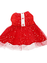 Cat / Dog Dress / Clothes/Clothing Red Spring/Fall Stars Wedding