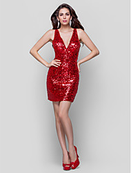 TS Couture® Cocktail Party / Holiday Dress - Ruby Plus Sizes / Petite Sheath/Column V-neck Short/Mini Sequined