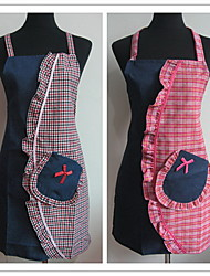 Cute Fashion Plaid Double Layer Waterproof Sleeveless Cotton Apron