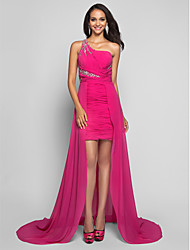 TS Couture Formal Evening Dress - Open Back Sheath / Column One Shoulder Short / Mini Asymmetrical Chiffon withBeading Ruching Criss