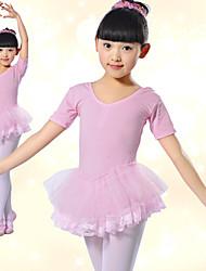 Ballroom Dancewear Lycra Bonita Com Tulle Vestido de Dança Ballet para crianças