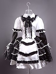 Long Sleeve Short Black and White Satin Gothic Lolita Dress