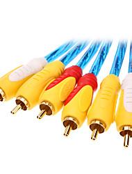 jsj® 1.8m 5.904ft 3xRCA mâle en mâle bleu cristal du câble AV pour le cinéma maison