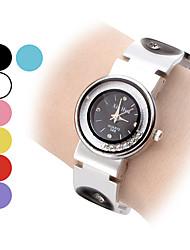 Mujer móvil del diamante del dial del reloj del patrón del círculo de la venda del análogo de cuarzo de la pulsera (colores surtidos)