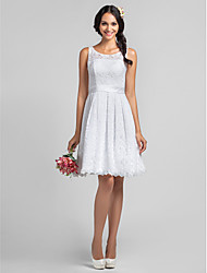 Lanting Knee-length Lace Bridesmaid Dress - White Plus Sizes / Petite A-line Scoop