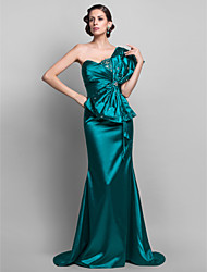 TS Couture Formal Evening Military Ball Dress - Open Back Trumpet / Mermaid One Shoulder Sweep / Brush Train Stretch Satin withBeading