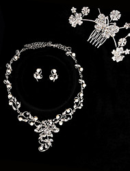 Pretty Alloy Silver Plated With Rhinestone Bridal Jewelry Set Including Necklace,Tiara and Earrings
