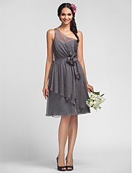 A-line One Shoulder Knee-length Chiffon Grace Bridesmaid Dress