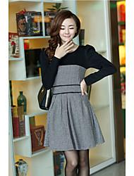 Tweed de lã das mulheres Apimentar Mini Vestido