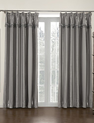 (Two Panels) Grey Stripe Mordern Room Darkening Curtain