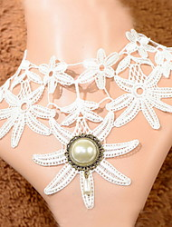 Fashion Lace With Pearl Flower Shaped Women's Necklace