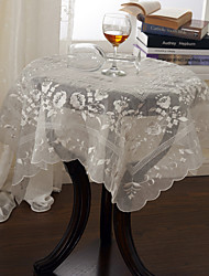 White / Khaki Polyester Square Table Cloths