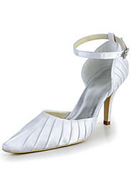 Bridal Satin Stiletto Ruched Pumps with Buckle Wedding/Special Occasion Shoes(More Colors)