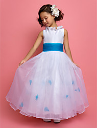A-line Princess Ankle-length Flower Girl Dress - Organza Taffeta Jewel with Flower(s) Sash / Ribbon Ruching