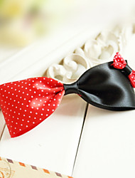 Black-and-red Satin 10.5cm Bow Punk Lolita Barrette