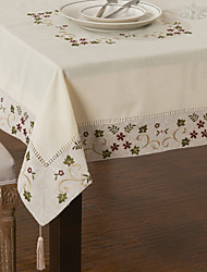 Berry Leaves Square Linen Cotton Blend Table Cloth