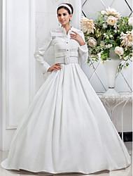 Lanting Bride A-line / Princess Petite / Plus Sizes Wedding Dress-Floor-length Spaghetti Straps Taffeta