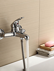 Contemporary / Modern Tub And Shower Waterfall with  Ceramic Valve Single Handle Two Holes for  Chrome , Shower Faucet / Bathtub Faucet