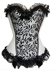 Light Gray and Black Floral Lace Gothic Lolita Corset