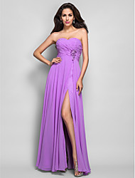 TS Couture Dress - Open Back Sheath / Column Sweetheart Floor-length Chiffon with Beading Split Front Criss Cross