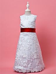 A-line / Princess Knee-length Flower Girl Dress - Lace / Satin Sleeveless Jewel with Lace / Sash / Ribbon