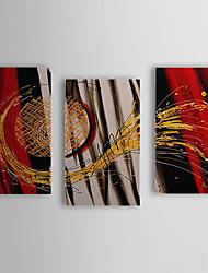 Peint à la main peinture à l'huile abstraite avec cadre étiré Sun Set de 3 1308-AB0733