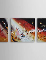 Hand Painted Oil Painting Abstract with Stretched Frame Set of 3 1308-AB0589