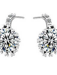 Elegant Sterling Silver With Cubic Zirconia Allergy Free Stud Earrings