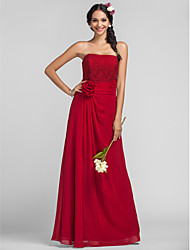 Floor-length Chiffon Bridesmaid Dress - Ruby Plus Sizes Sheath/Column Strapless