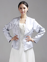 Wedding  Wraps Coats/Jackets Long Sleeve Lace / Satin Yellow Wedding / Party/Evening T-shirt Open Front