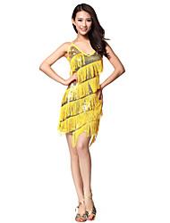 Desempenho dancewear poliéster com borlas & Rhinestone Latina vestido da dança para senhoras