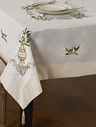 Country linen White Floral Table Cloths